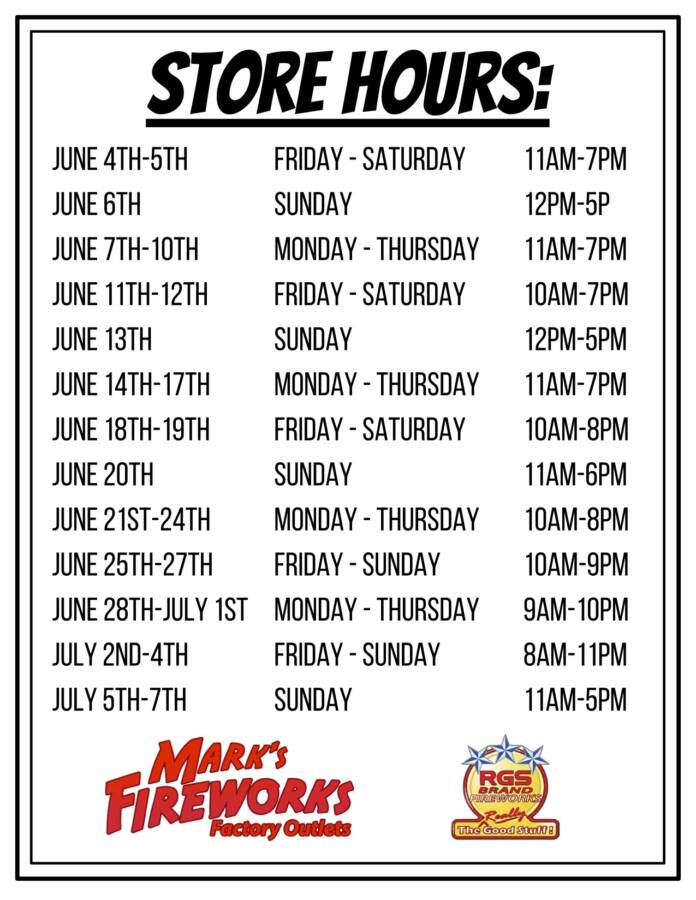 Mark's Fireworks Outlet Store Hours